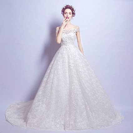 MOMO Luxury High End Diamond Lace Word Shoulder Princess Bride Slim Large Tail Wedding Dress