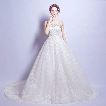 AN Lujo de gama alta palabra de encaje diamante hombro novia princesa Vestido de novia de