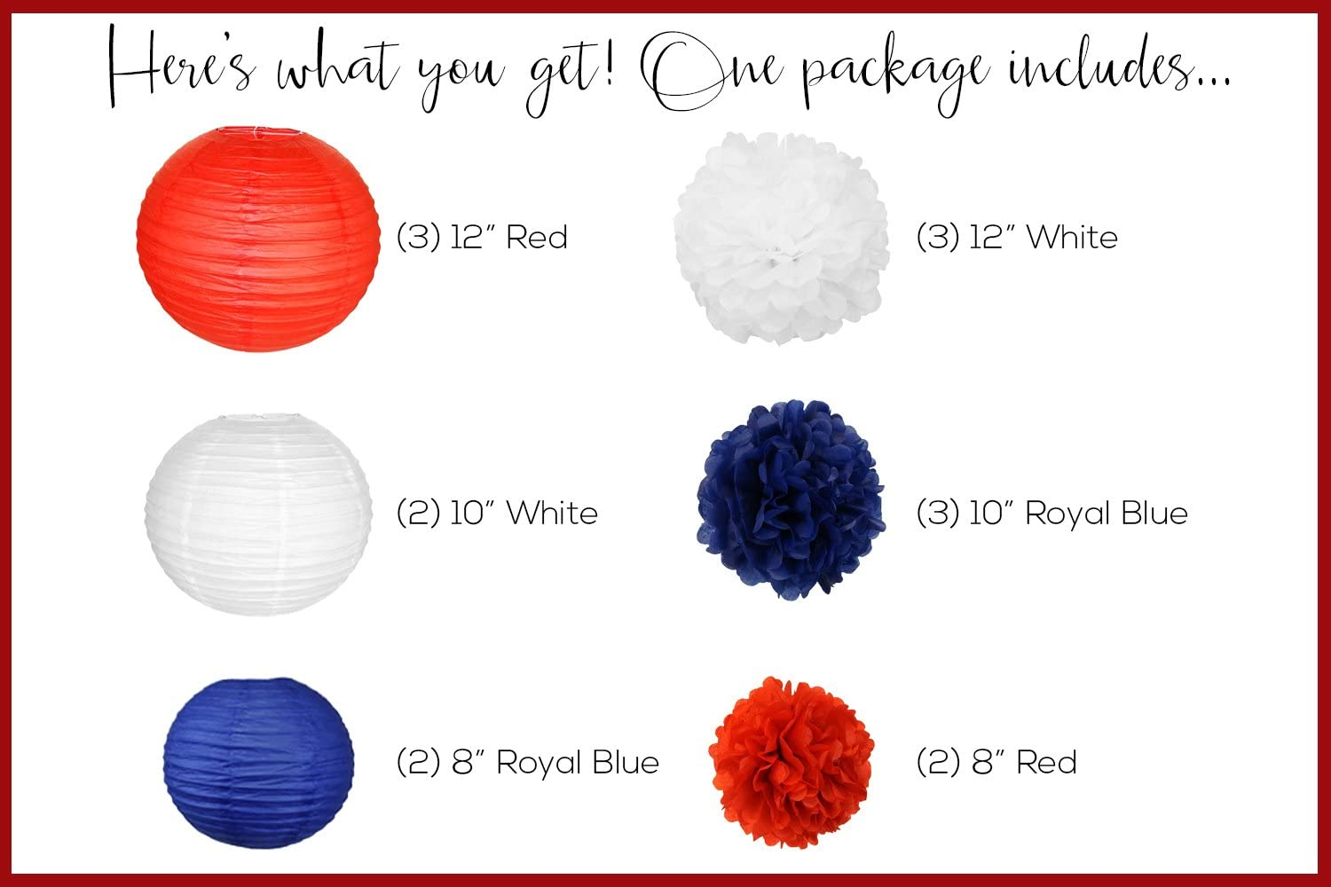 15pcs Just Artifacts Decorative Paper Party Pack Yellow//Blues//Reds Paper Lanterns and Pom Pom Balls