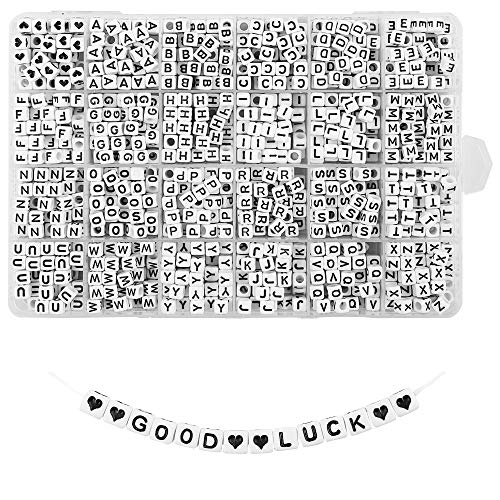 Quefe 1440pcs Acrylic Letter Beads White Cube Alphabet Beads Sorted Alphabet Beads for Jewelry Making, Bracelets, Necklaces, Key Chains (6 x 6mm)