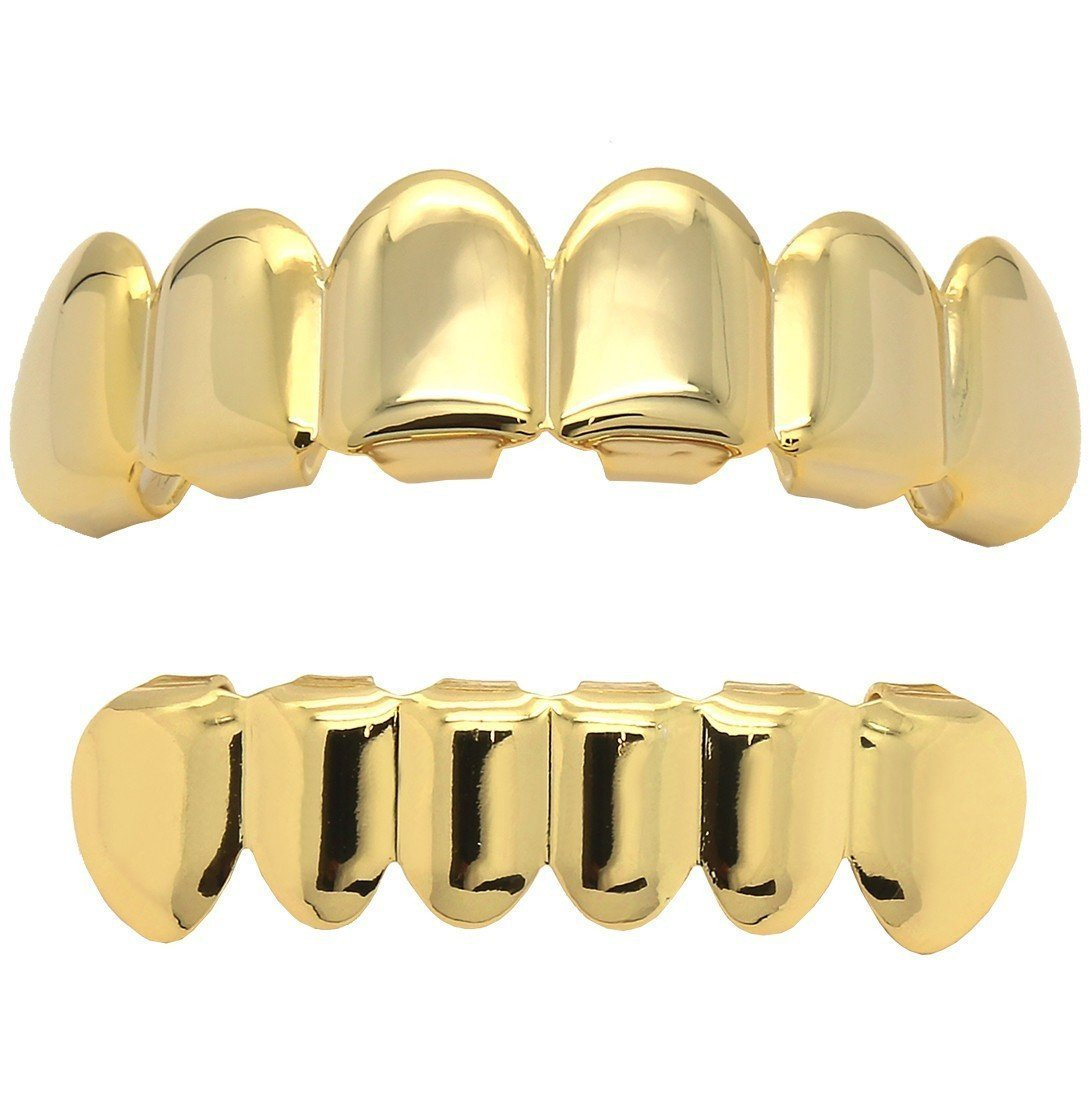 16K Gold Plated Hip Hop Caps Custom Fit Top & Bottom Grillz Set Teeth Grills Mouth L & L Nation SP2RCTB