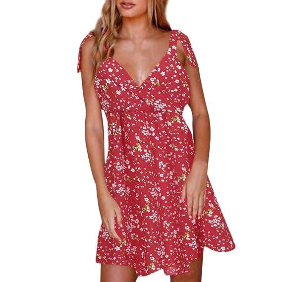Keepwin Mujer Vintage Floral Vestidos Elegante Verano Sin Mangas Vestido De Fiesta De Noche: Amazon.es: Ropa y accesorios