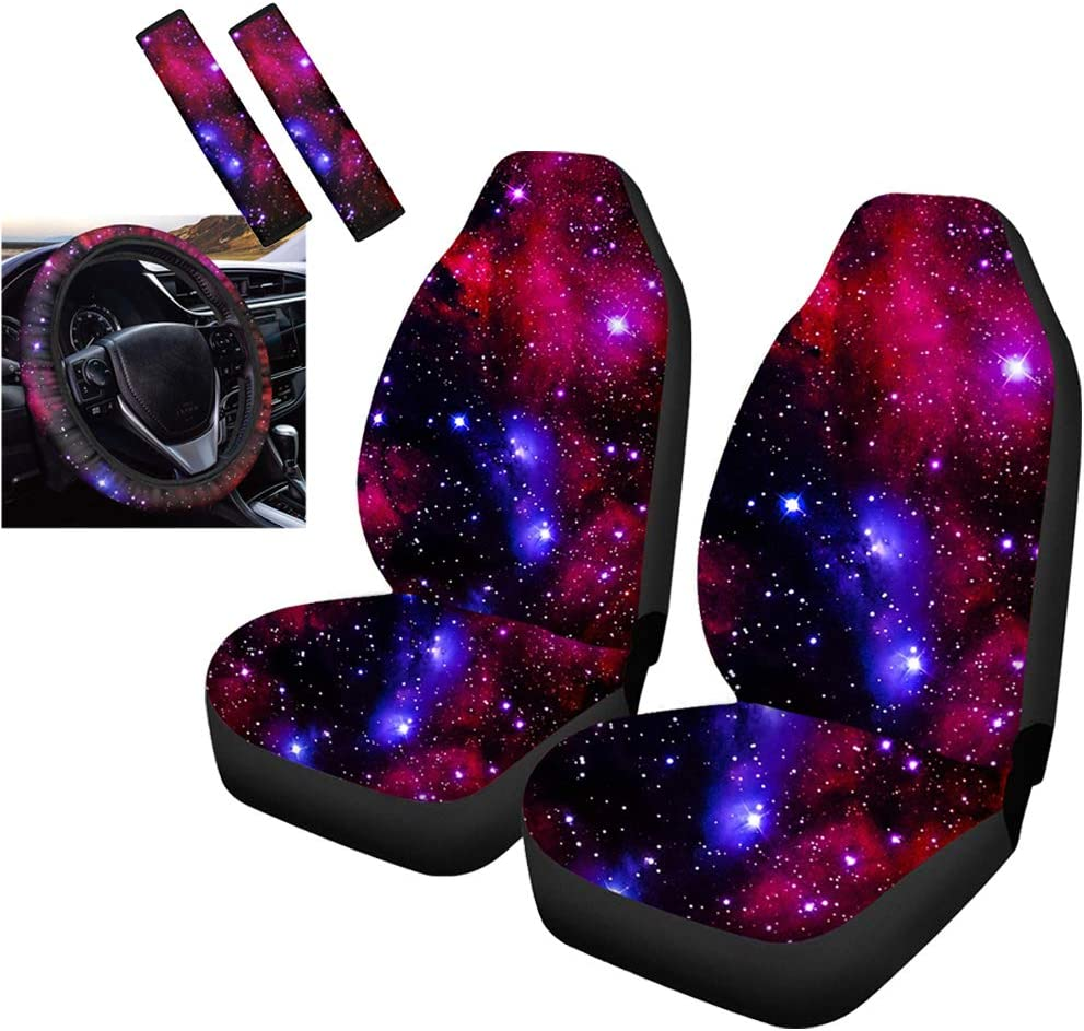 15 Inch Steering Wheel Covers Anti-Slip,Car Accessories Set 5 Pack Showudesigns Bohemia Flower Car Seat Covers Front Seat Only Seatbelt Shoulder Strap Covers