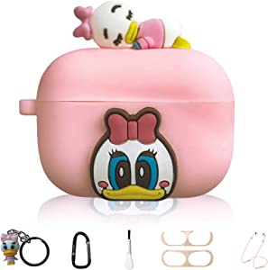 Daisy Duck Cute Cartoon Silicone Case Skin for Apple Airpod Pro, 7 in 1 Silicone Accessories, Silicone Case/Keychain/Carabiner/Metal dust Sticker/Cleaning Brush/Anti-Lost Rope,The Best Gift