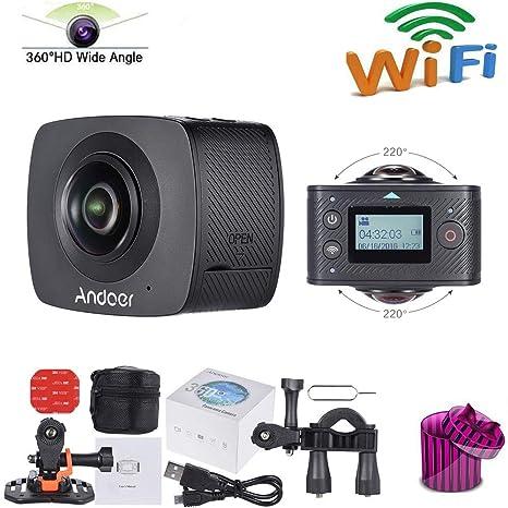 HUAXING Doble Lente 360 Grado panorámico Digital Video Deportes acción VR cámara 30fps HD 8MP w