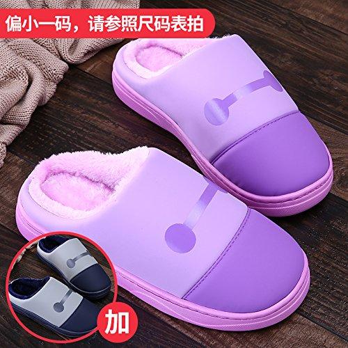 LaxBa Femmes Hommes chauds dhiver Chaussons peluche antiglisse intérieur Cotton-Padded Chaussures Slipper + violet bleu foncé40/41 + 44/45
