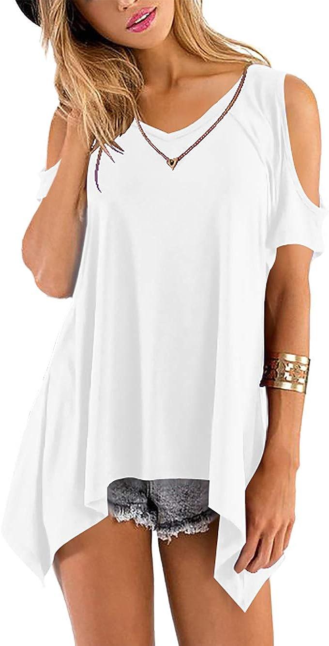 Florboom Maglietta Freddezza Manica Corta Tshirt Casual Blusa V-Collo Tops Camicia