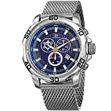 Joshua & Sons Chronograph with Textured Blue Dial on Silver-Tone Case with a Stainless Steel Silver-Tone Mesh Bracelet Watch JX123SSBU