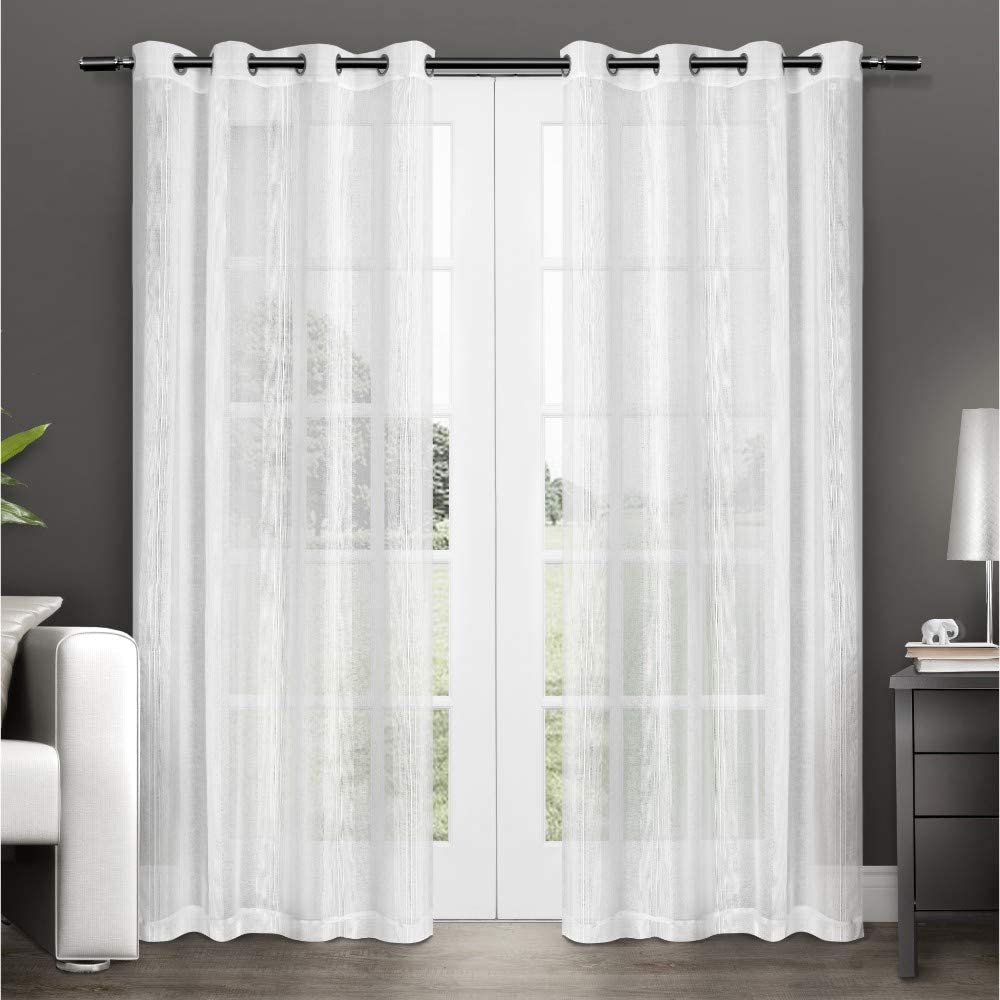 Exclusive Home Curtains Penny Window Curtain Panel Pair with Grommet Top, 50x96, Winter White, 2 Piece