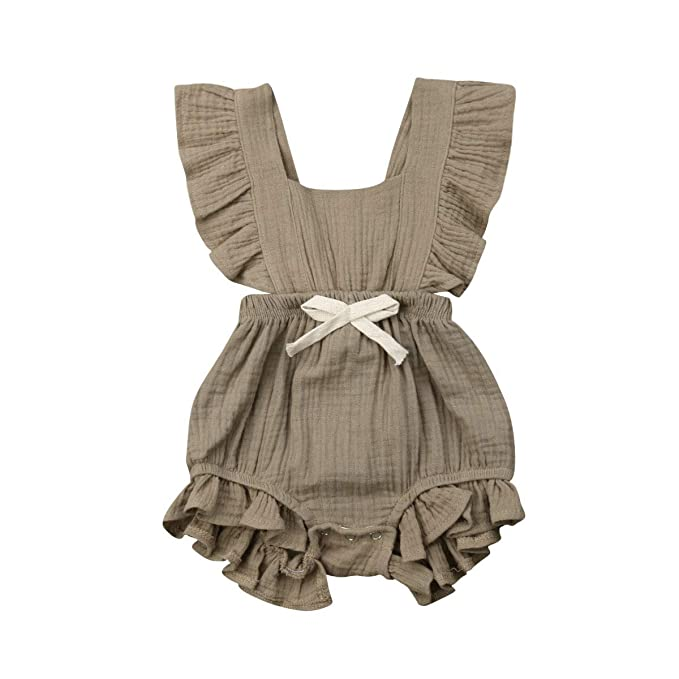 153a10e573a48 ITFABS Newborn Baby Girl Romper Bodysuits Cotton Flutter Sleeve One-Piece  Romper Outfits Clothes (