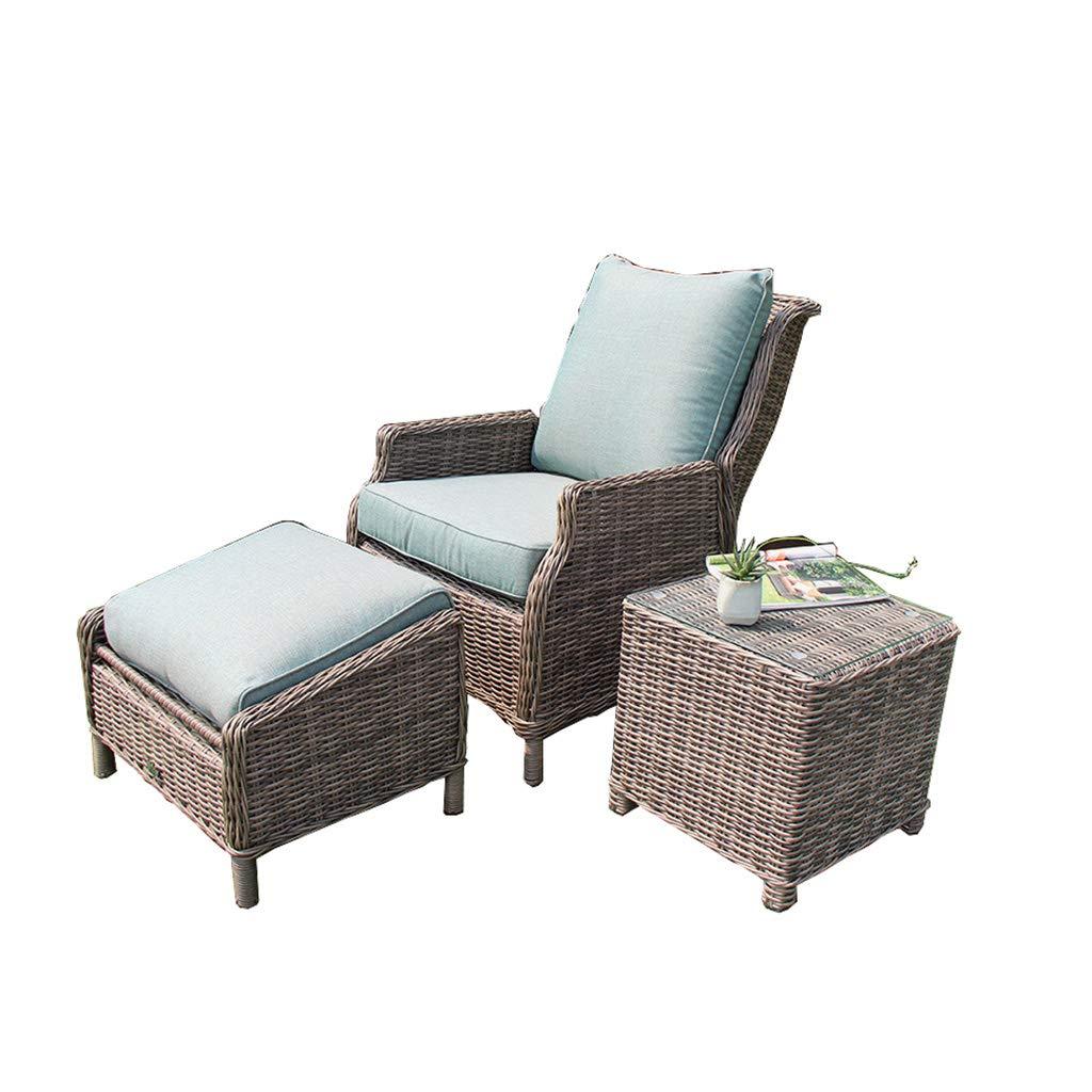 XLOO Lounge Möbel Set, Portal-Möbel-Sätze 3 Stücke PET-Rattan-Weidenstühle mit Tabelle, justierbarer im Freienaufenthaltsraumstuhl mit Gegenständer für Portal-Poolside-Hinterhof