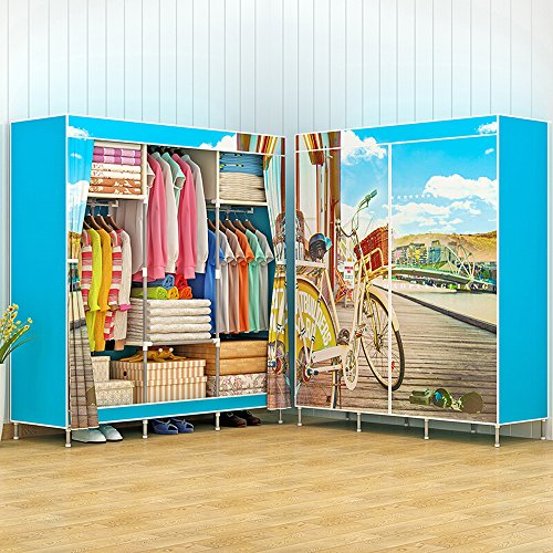 Portable Triple Wardrobe Closet Large Folding Armoire Storage Bedroom Furniture Fully-enclosed Clothes Organizer - Triple Wardrobe