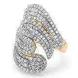 3.00 Carat (ctw) 14K Yellow Gold Round Diamond Ladies Cocktail Ring (Size 8)