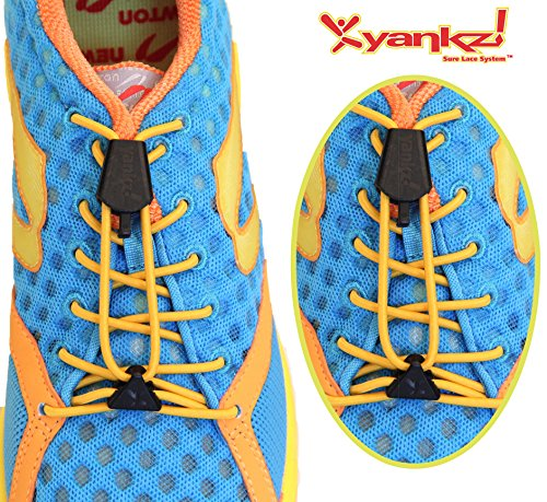 Yankz Sure Lace Round Elastic Shoe Laces Gold With Black