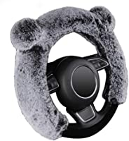 AUTOYOUTH Winter Women Steering Wheel Cover Fur Cute Warm Long Wool Plush Car Steering Wheel Covers Universal 37-38...