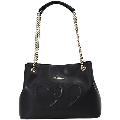 4c85bf5aba1d Amazon.com  LOVE Moschino Women s Embossed Heart Shoulder Bag Black ...