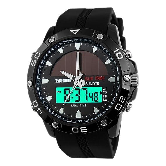eYotto Reloj de hombre, Solar Power Digital Relojes Multifuncional Dos Zonas de Tiempo Banda Suave Deporte Reloj de Pulsera: Amazon.es: Relojes