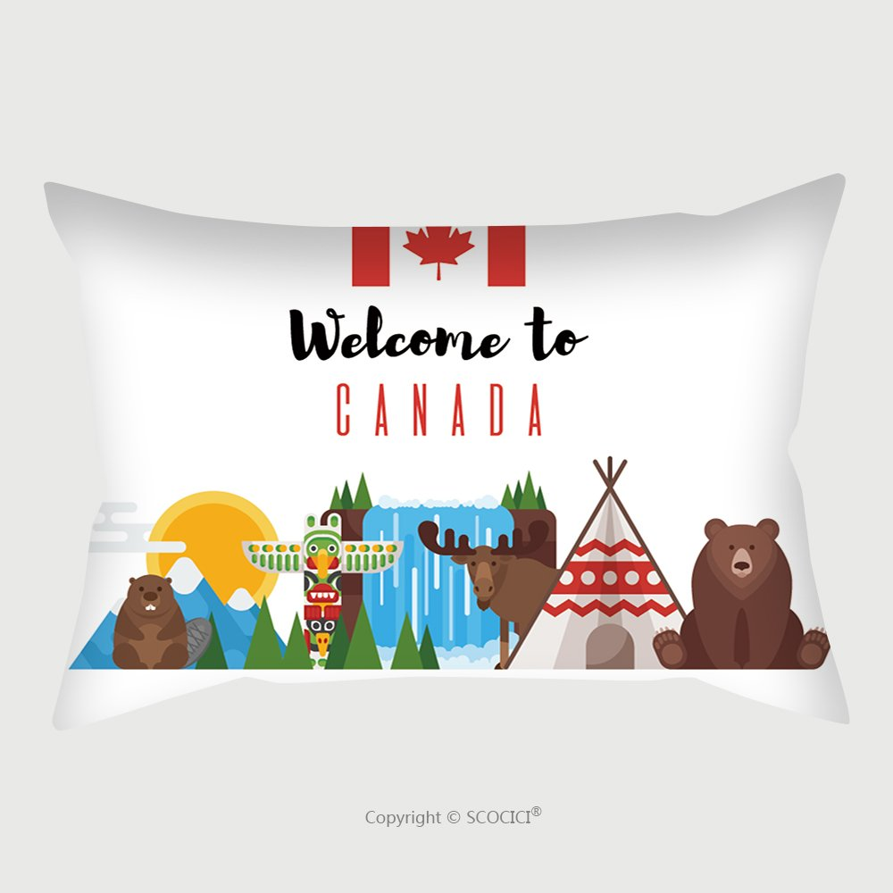Custom Satin Pillowcase Protector Vector Flat Style Set Of Canadian National Objects Icon For Web Isolated On White Background 575951029 Pillow Case Covers Decorative