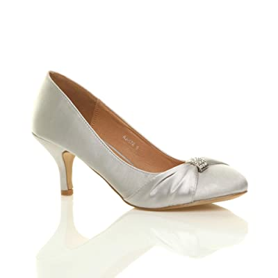 Ajvani Women's Mid Heel Wedding Court Shoes Pumps Size