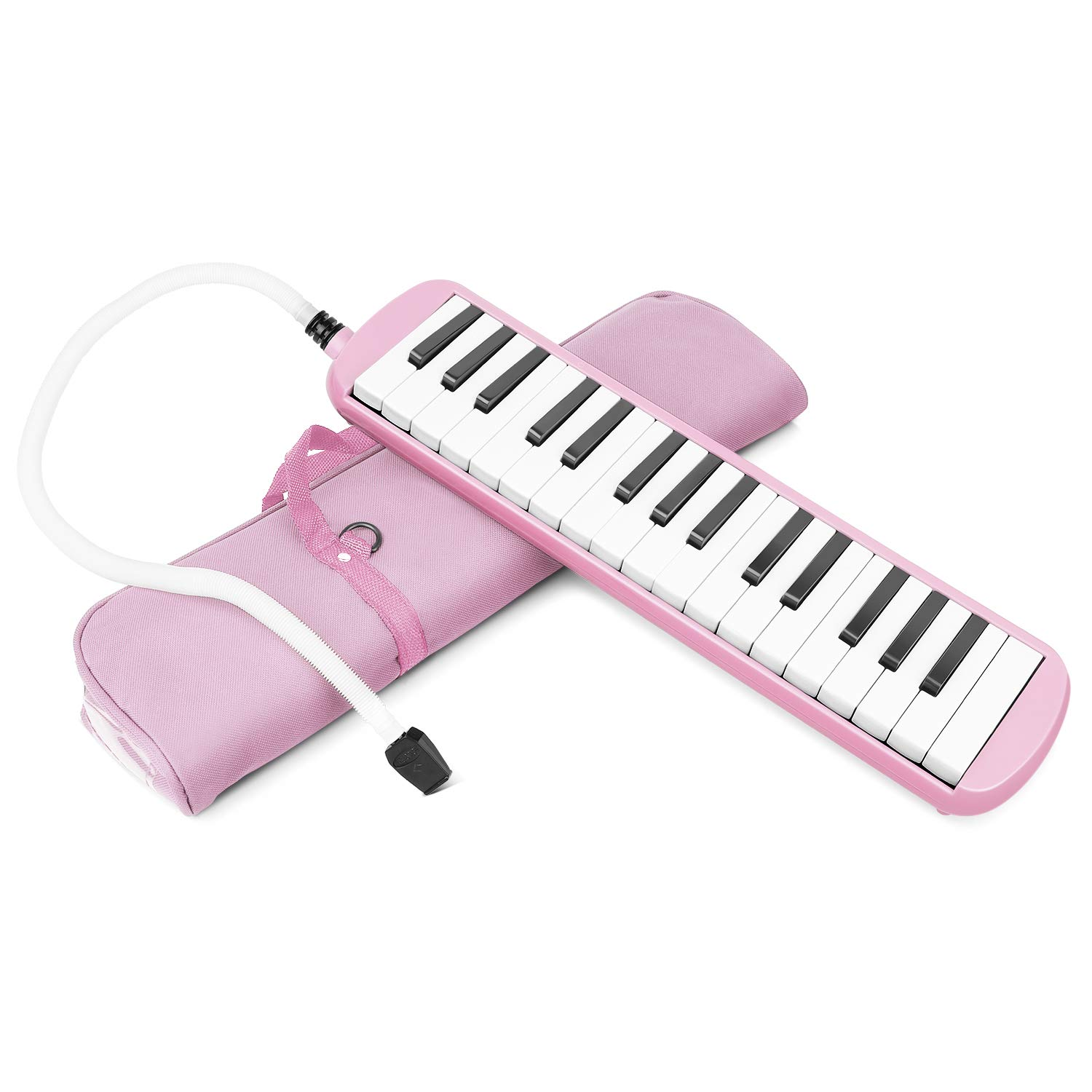 Flexzion Melodica 32 Piano Keys - Melodica Keyboard with Mouthpiece Tube, Portable Musical Instrument Pianica Melodicas Piano Style with Carrying Bag (32 Key) (Pink)