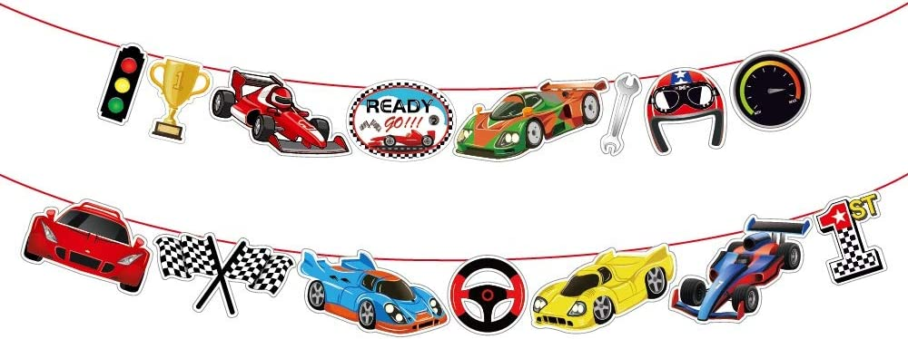 Kristin Paradise Race Car Banner, Racing Party Sign, Racer Birthday Decorations, Boy Girl Baby Shower Theme Supplies, Bday Kids 1st First Decor
