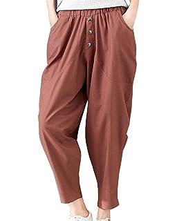 Pantalon Ete Femme Élégant Ceinture Élastique Taille Haute Pantalon Sarouel  Uni Manche Bouffant Loisir Mode Fille 0cfff6550087