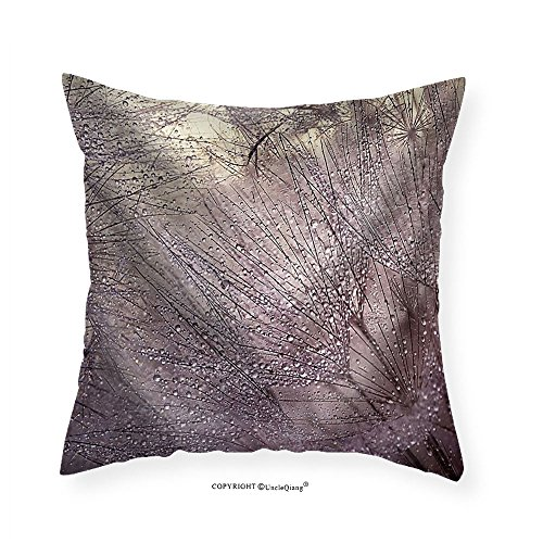 VROSELV Custom Cotton Linen Pillowcase macro photo with water drops. Dandelion seed.Artistic Background for desktop. - Fabric Home Decor 14