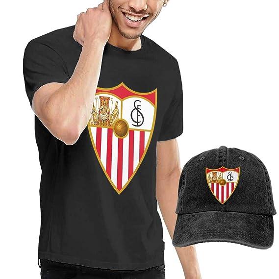 Sevilla FC Hombre Cómoda Camiseta Y Combinación De Sombrero Negro ...