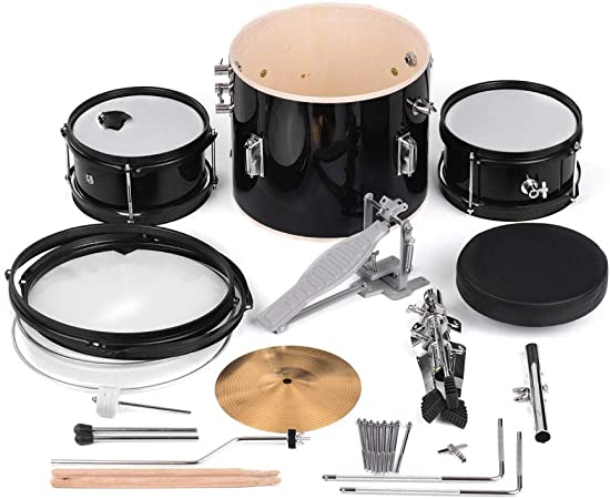 ABMBERTK Set de batería de 3 Piezas para Principiantes Kit de batería Instrumento Musical de percusión, con batería de platillos Taburete Ajustable, como espectáculo: Amazon.es: Hogar