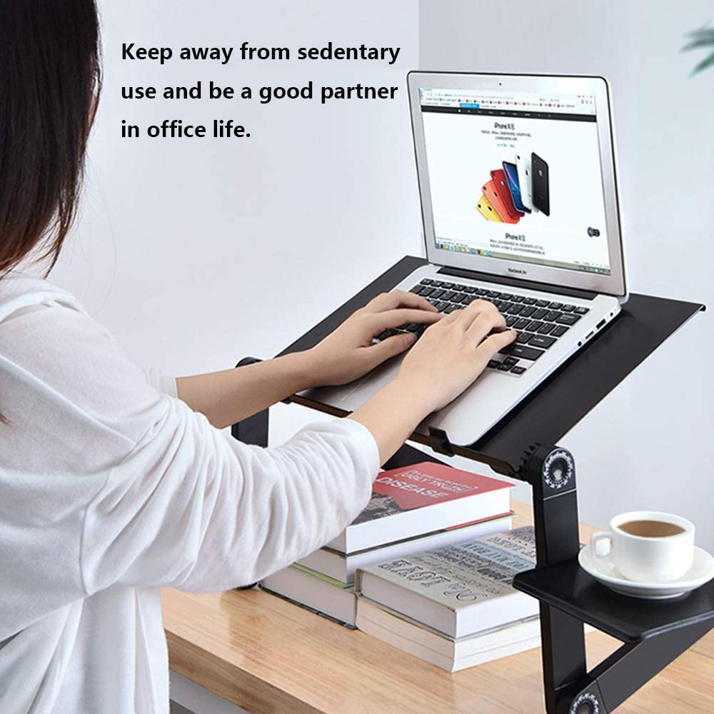 Black Ergonomic Lap Desk TV Bed Tray Standing Desk Portable Laptop Table Stand with 1 CPU Cooling Fans unhg Adjustable Laptop Stand
