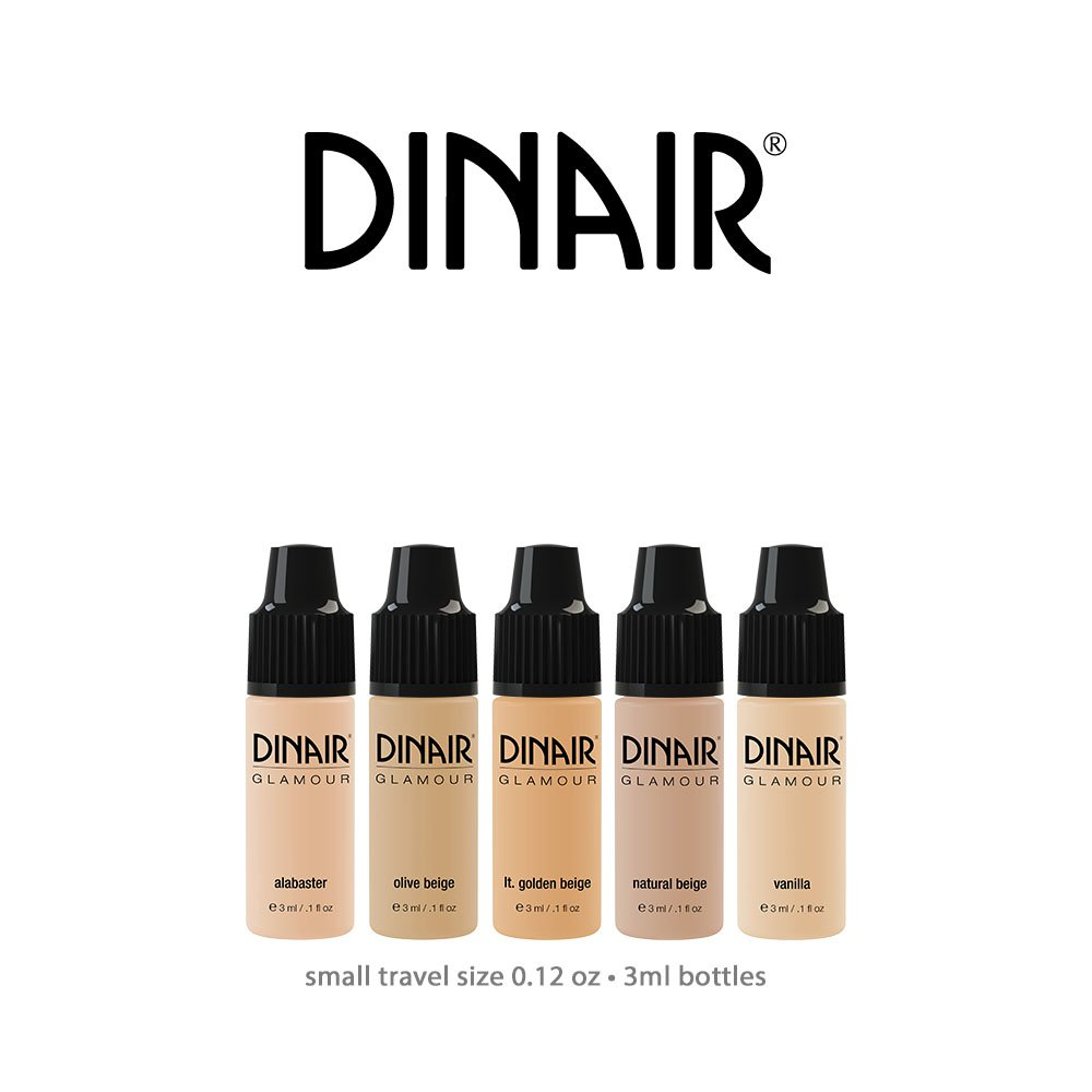 Mini Sample Size Bottles Dinair Airbrush Makeup Foundation | Fair Shades | GLAMOUR: Natural, Light coverage, Matte