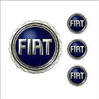 Jogo Emblema Resinado 48mm Fiat Azul Para Calota Roda Botom - 4 Peças
