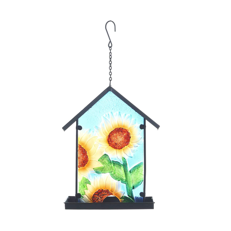 CEDAR HOME Hanging Bird Feeder Outdoor Garden Decorative Water Proof Pebble Glass Bird Feeder with Eave Sunflower