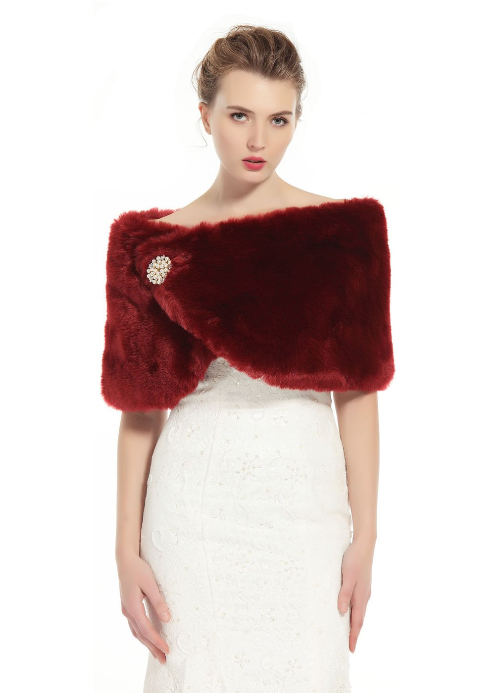 BEAUTELICATE Faux Fur Wrap Shawl Women's Shrug Bridal Stole for Winter Wedding Party Free Brooch Wine Red