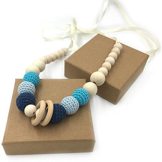 Coskiss Azul Collares de ganchillo Collar de dientes de bebé Collar de dentición seguro con juguete de madera natural orgánica Mamá Collar de dientes ...