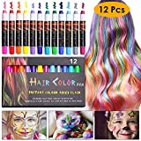 NANW 12 Color Temporary Hair Chalk, Hair Pens Crayon Salon Non-toxic Washable Hair Dye Safe for Cosplay Birthday New...