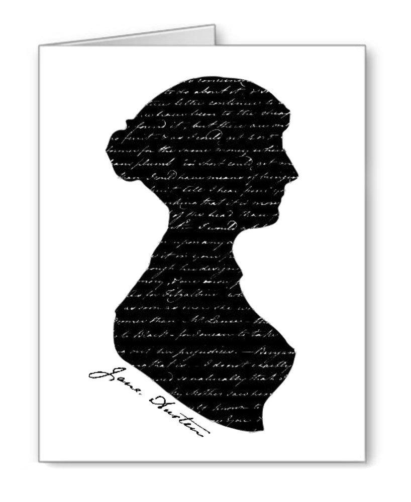 Jane Austen de silueta tarjetas de Nota con sobres juego de ...