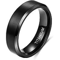 TIGRADE 6MM 8MM خاتم التيتانيوم الأسود غير اللامع خاتم الخطوبة الزفاف الراحة صالح الحجم 6-14