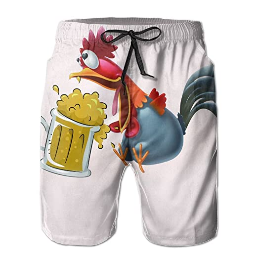 ea5726f424 Cock Rooster Drinking A Tankard Mug Of Ale Beer Mens Breathable Swim Trunks  Beach Shorts Board Shorts | Amazon.com