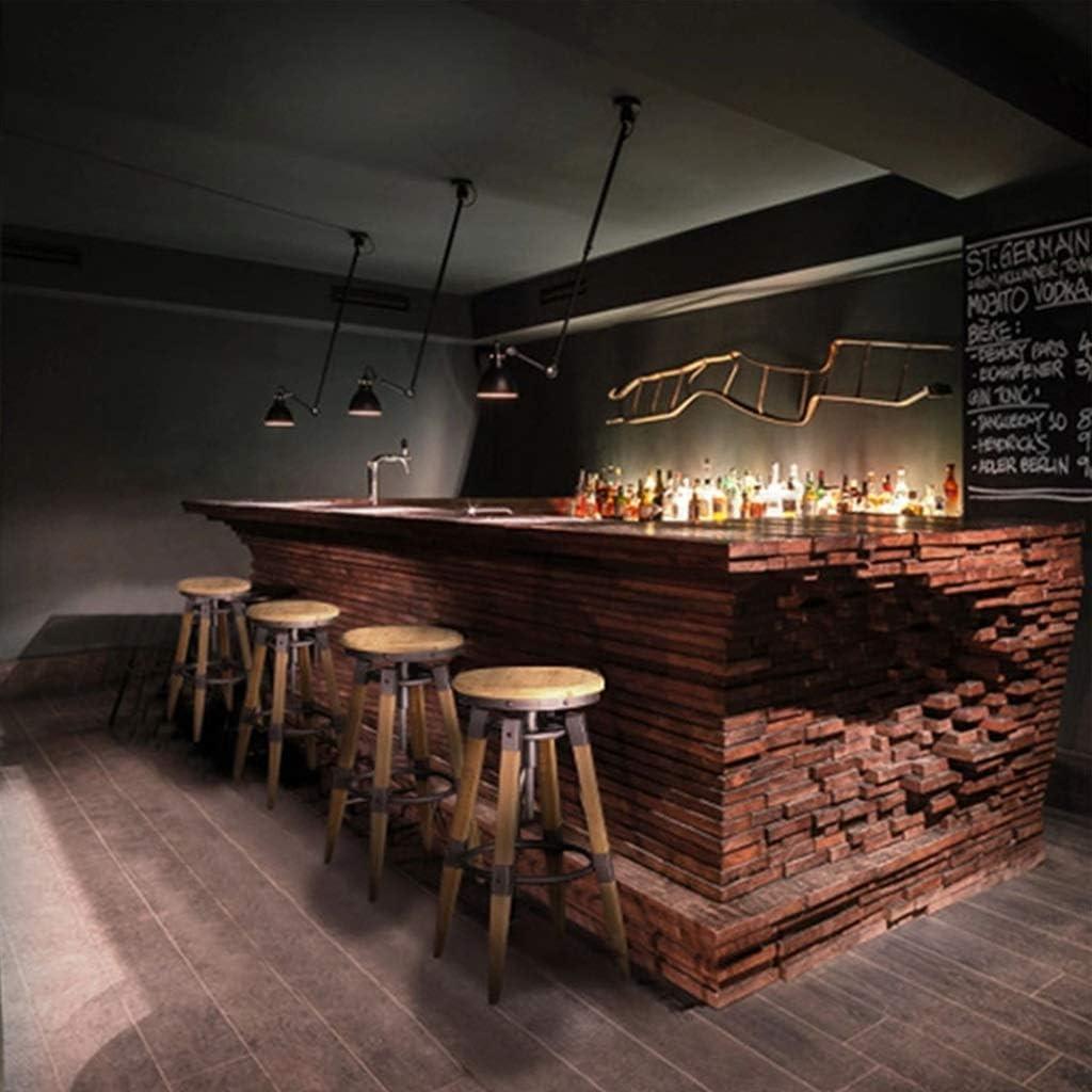R/églage en hauteur Tabouret de bar rond classique American Classic Rotate Lift de si/ège en bois massif Style industriel Caf/é Comptoir M/énage