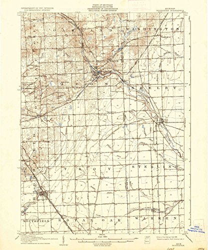 Yellowmaps Rochester Mi Topo Map  1 62500 Scale  15 X 15 Minute  Historical  1908  Updated 1936  19 8 X 16 5 In   Paper