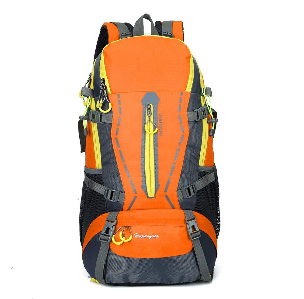 Orangejaune  60L Voyage Randonnée Sac à Dos Camping en Plein Air Daypack Durable Résistant à l'eau Voyage Randonnée Camping en Plein Air Daypack pour Femmes Hommes-jaunenoir