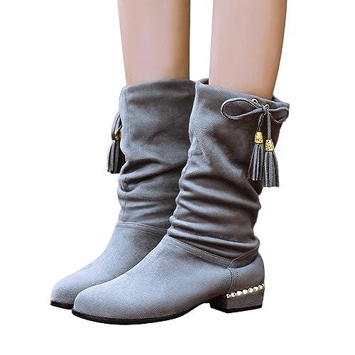 Botas Altas Mujer Invierno K-Youth Moda Botas Mujer Invierno Altas Zapatos Mujer Fiesta Plataforma 2019 Borla Botas de Mujer Otoño Casual Chic Zapatos para ...