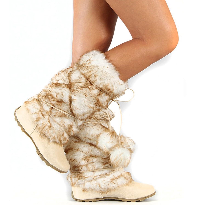 Beige Mukluks Super Furry Pom-pom Winter Flat Boots Vegan (12)