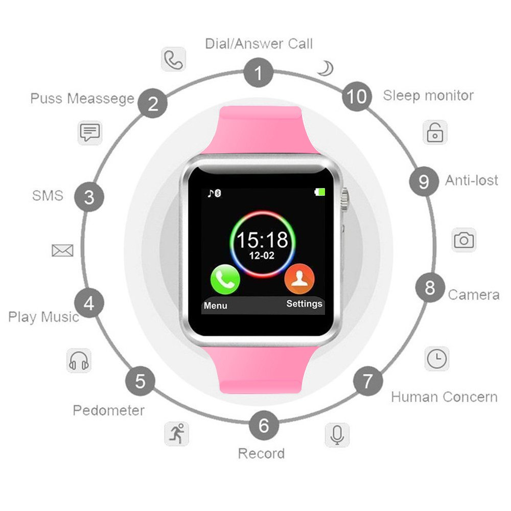 COSROLE Bluetooth Smart Watch, A1 Touch Screen Smart Wrist Watch with 8GB SD Card & Two Batteries & Screen Protector for Samsung Xiaomi Huawei Sony HTC LG Android Smartphones - Pink by COSROLE (Image #2)