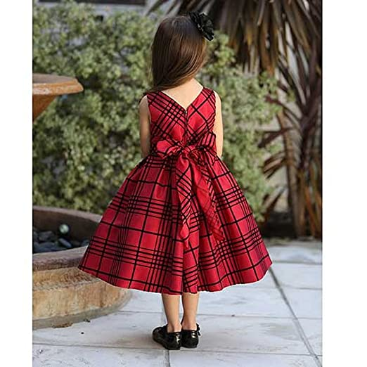 angels garment toddler girls size 2t red black plaid christmas dress
