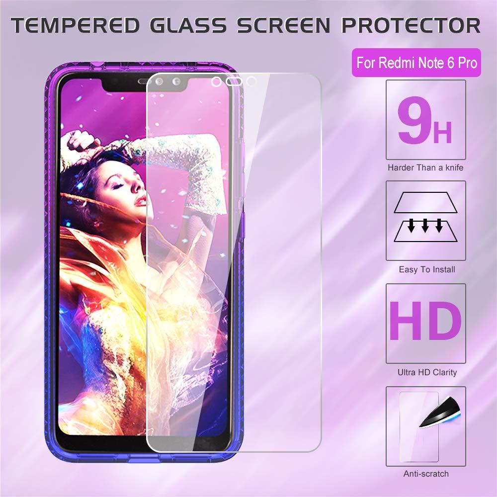LeYi Funda Xiaomi Redmi Note 6 Pro con Anillo Soporte 360 Ring Grip con Soporte Kickstand Gel TPU de Silicona Bumper Case Carcasa Fundas Redmi Note 6 Pro con HD Protector de Pantalla JSZH,Negro