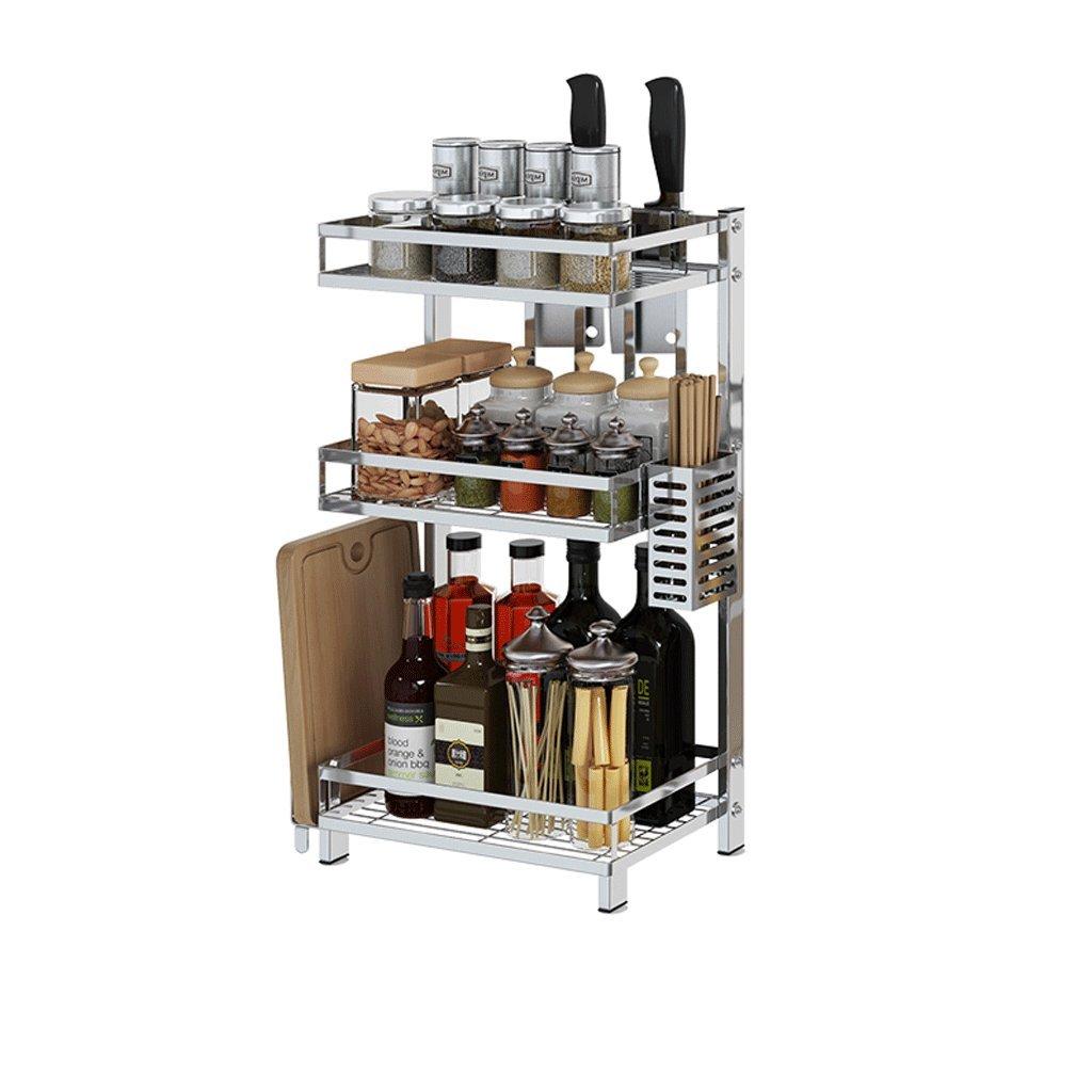 304 Stainless Steel Kitchen Rack Multifunctional Kitchen Floor-Standing Punch-Free Seasoning Supplies Storage Rack