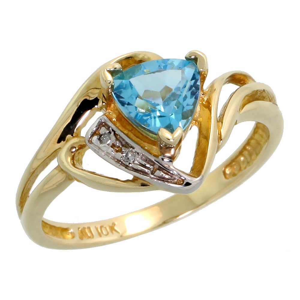 10k Gold Diamond Natural Blue Topaz Ring Trillium Cut 6mm December Birthstone 1/2 inch wide, size 8