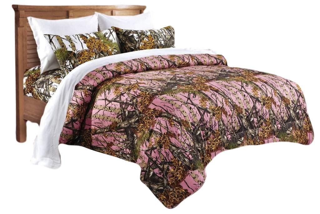 20 Lakes Woodland Hunter Camo Comforter, Sheet, Pillowcase Set (Full, Pink & White)